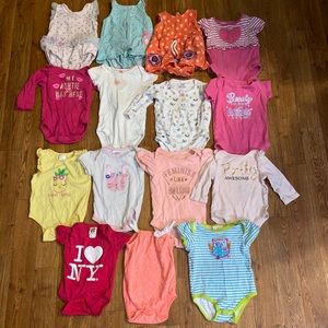 15 baby girl body suits size 6-9 months